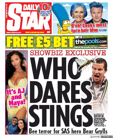 Daily Star Newspaper Front Page (UK) for 30 August 2019