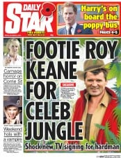 Daily Star (UK) Newspaper Front Page for 31 October 2014