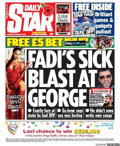 Daily Star Newspaper Front Page (UK) for 31 October 2019