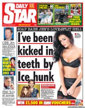 Daily Star Newspaper Front Page (UK) for 31 December 2012