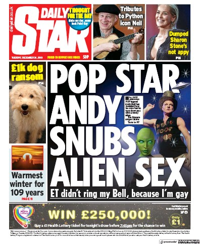 Daily Star Newspaper Front Page (UK) for 31 December 2019