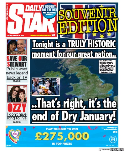 Daily Star Newspaper Front Page (UK) for 31 January 2020