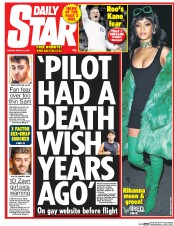 Daily Star (UK) Newspaper Front Page for 31 March 2015