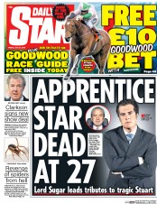 Daily Star (UK) Newspaper Front Page for 31 July 2015