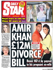 Daily Star (UK) Newspaper Front Page for 31 August 2017