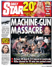 Daily Star (UK) Newspaper Front Page for 3 October 2017