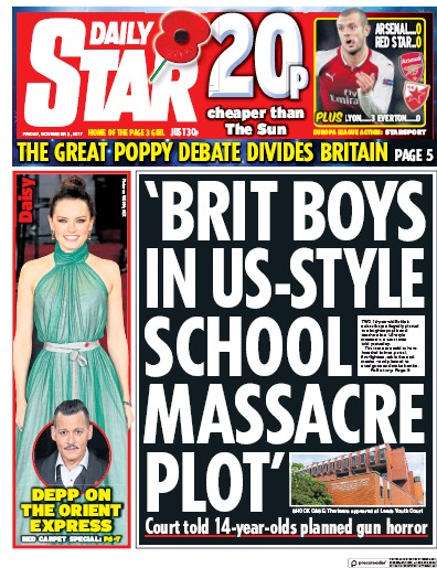 Daily Star Newspaper Front Page (UK) for 3 November 2017