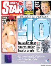 Daily Star (UK) Newspaper Front Page for 3 January 2019