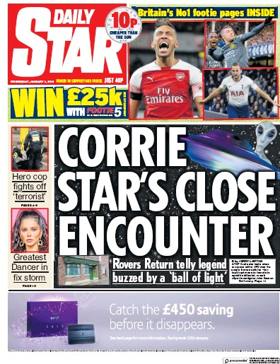 Daily Star Newspaper Front Page (UK) for 3 January 2019