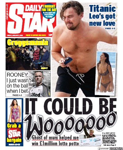 Daily Star Newspaper Front Page (UK) for 3 January 2020