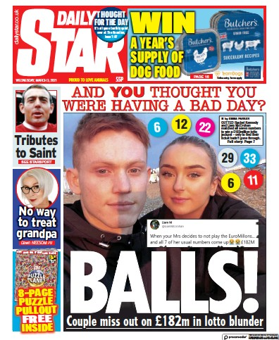 Daily Star Newspaper Front Page (UK) for 3 March 2021