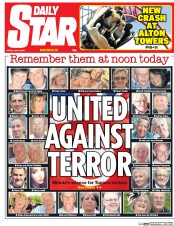 Daily Star (UK) Newspaper Front Page for 3 July 2015