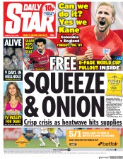 Daily Star (UK) Newspaper Front Page for 3 July 2018