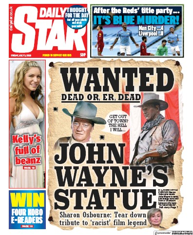 Daily Star Newspaper Front Page (UK) for 3 July 2020
