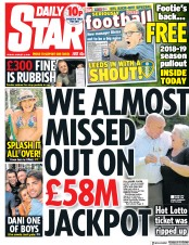 Daily Star (UK) Newspaper Front Page for 3 August 2018
