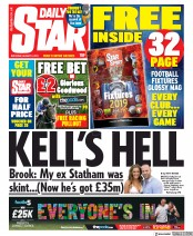 Daily Star (UK) Newspaper Front Page for 3 August 2019