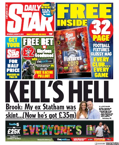 Daily Star Newspaper Front Page (UK) for 3 August 2019