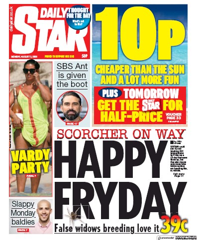 Daily Star Newspaper Front Page (UK) for 3 August 2020