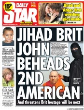 Daily Star (UK) Newspaper Front Page for 3 September 2014