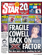 Daily Star (UK) Newspaper Front Page for 4 November 2017