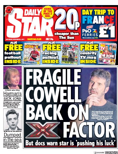 Daily Star (UK) Front Page for 4 November 2017 | Paperboy ... Daily Star