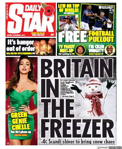 Daily Star Newspaper Front Page (UK) for 4 November 2019