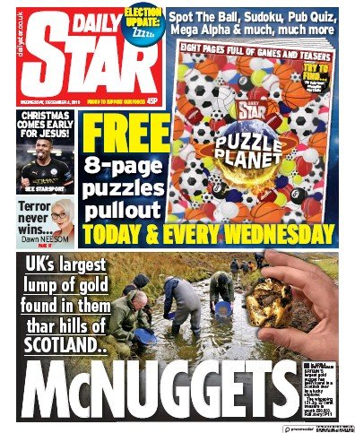 Daily Star Newspaper Front Page (UK) for 4 December 2019