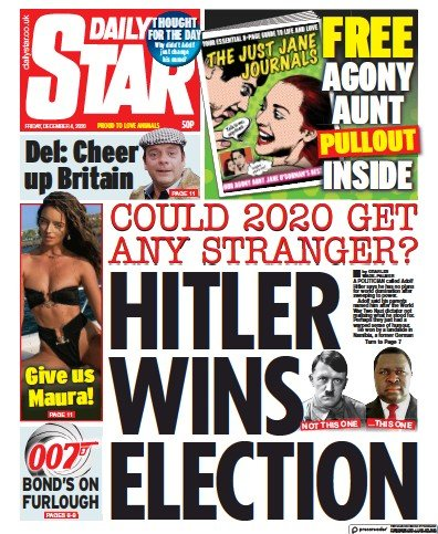 Daily Star Newspaper Front Page (UK) for 4 December 2020