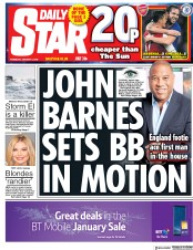 Daily Star (UK) Newspaper Front Page for 4 January 2018
