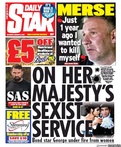 Daily Star Newspaper Front Page (UK) for 4 January 2020