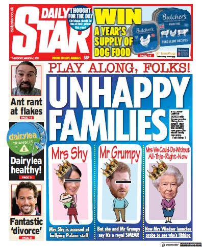 Daily Star Newspaper Front Page (UK) for 4 March 2021