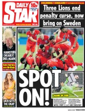 Daily Star (UK) Newspaper Front Page for 4 July 2018