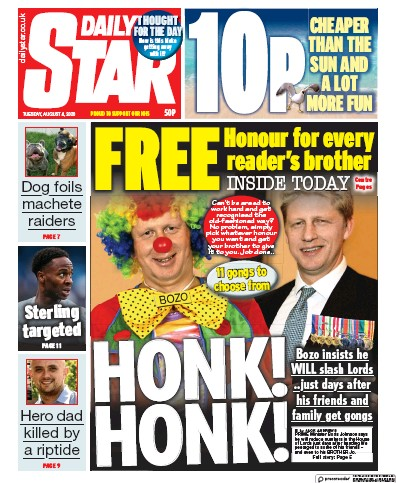Daily Star Newspaper Front Page (UK) for 4 August 2020