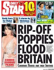 Daily Star (UK) Newspaper Front Page for 5 November 2018