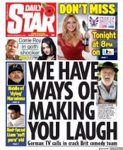 Daily Star (UK) Newspaper Front Page for 5 November 2019