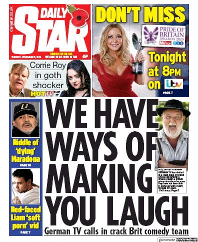 Daily Star Newspaper Front Page (UK) for 5 November 2019