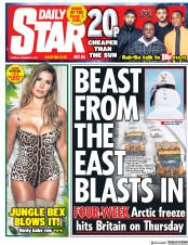 Daily Star (UK) Newspaper Front Page for 5 December 2017