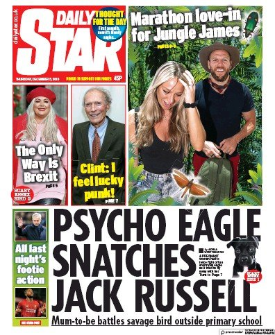 Daily Star Newspaper Front Page (UK) for 5 December 2019