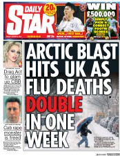 Daily Star (UK) Newspaper Front Page for 5 January 2018