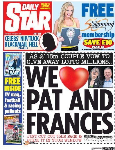 Daily Star Newspaper Front Page (UK) for 5 January 2019