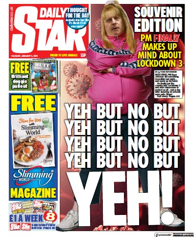 Daily Star Newspaper Front Page (UK) for 5 January 2021