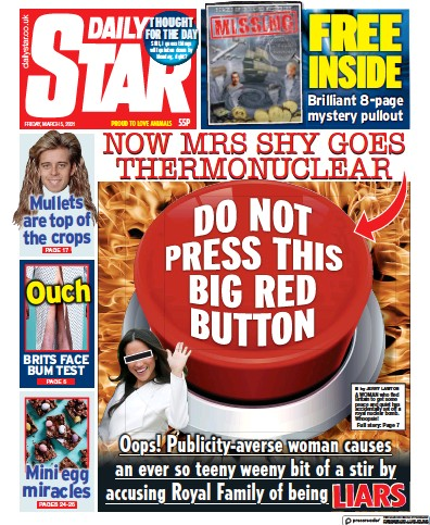 Daily Star Newspaper Front Page (UK) for 5 March 2021