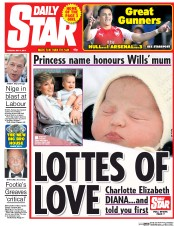 Daily Star (UK) Newspaper Front Page for 5 May 2015