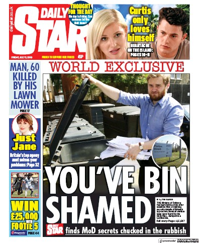 Daily Star Newspaper Front Page (UK) for 5 July 2019
