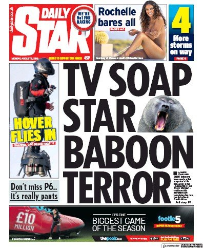 Daily Star Newspaper Front Page (UK) for 5 August 2019