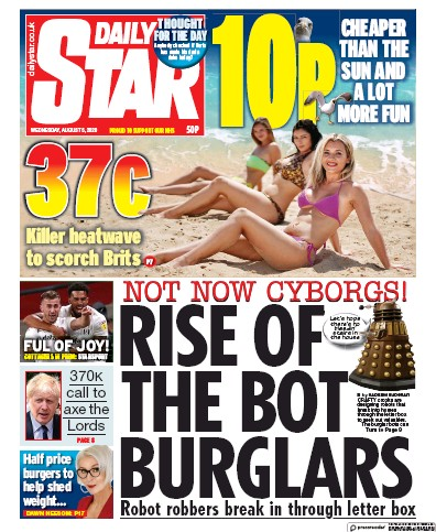 Daily Star Newspaper Front Page (UK) for 5 August 2020