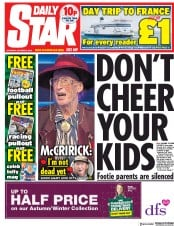 Daily Star (UK) Newspaper Front Page for 6 October 2018