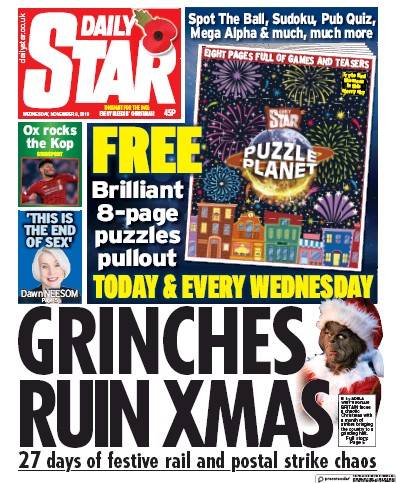 Daily Star Newspaper Front Page (UK) for 6 November 2019
