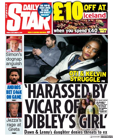 Daily Star Newspaper Front Page (UK) for 6 December 2019