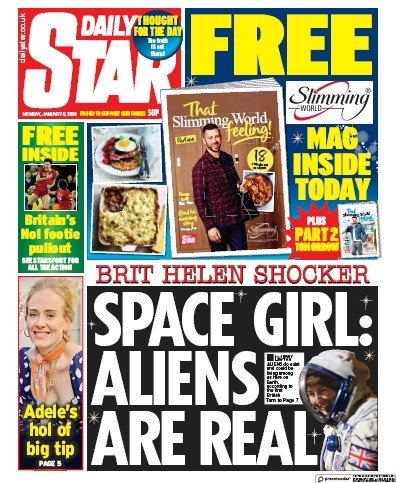 Daily Star Newspaper Front Page (UK) for 6 January 2020